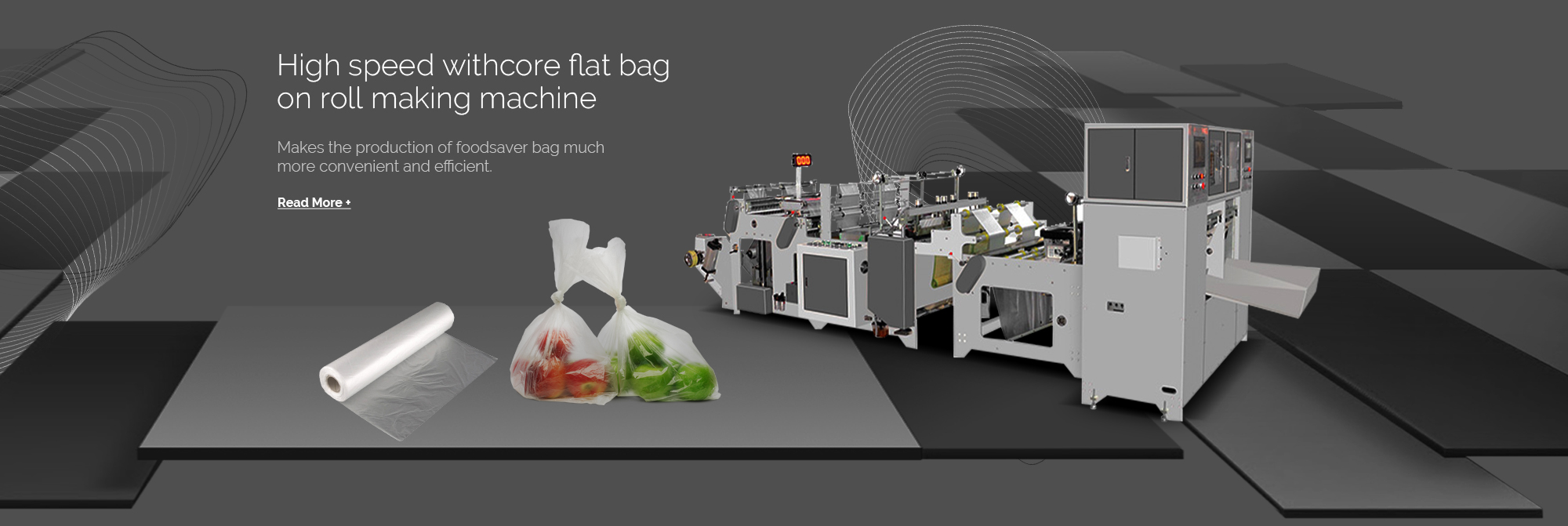 High speed withcore flat bag on roll making machine